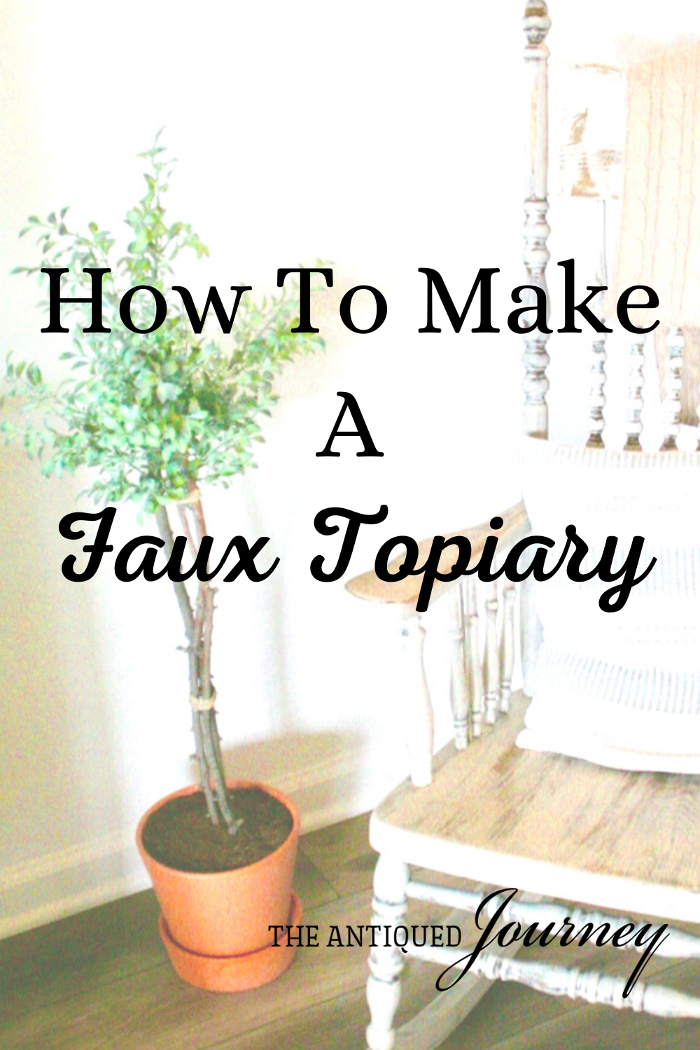 a DIY faux topiary next to a rocking chair