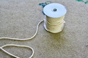 rope for creating ticking stripe fabric garland