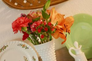 hobnail glass vase with fresh flowers