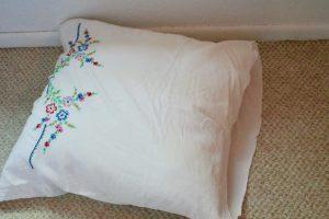 vintage pillowcase cut down to size