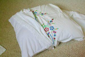 insert pillow into vintage pillowcase