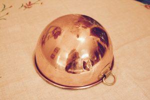 vintage copper bowl with loop handle