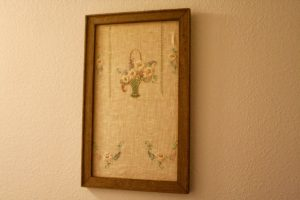 vintage linen in a rustic frame