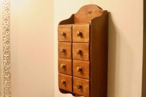 vintage wooden spice box