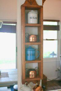 vintage wood shelf with copper