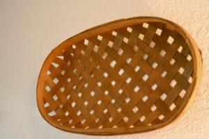vintage wood tobacco basket as wall decor