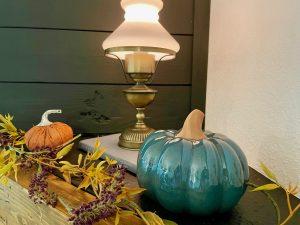pumpkins on mantel