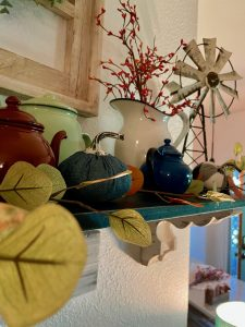 vintage enamelware paired with fall decor