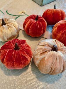 faux velvet pumpkins for a centerpiece