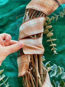 plaid ribbon on grapevine wreath
