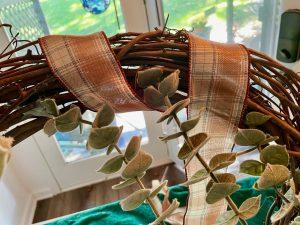 wrap fall plaid ribbon on grapevine wreath