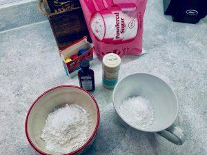ingredients to make frosting for sugar cookies