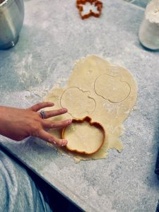 pumpkin shapes in sugar cookie dough