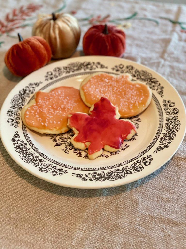 fall sugar cookies on a vintage plate